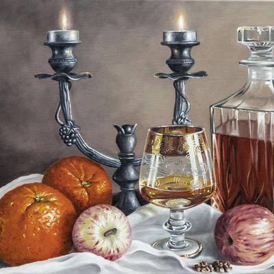 """Cognac time""-Original oil painting by Sabbi Gavrailov | Fine Art | 2021"