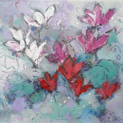 """""""True love cyclamen"""" Acrylic on canvas 25 x 25 cm"""