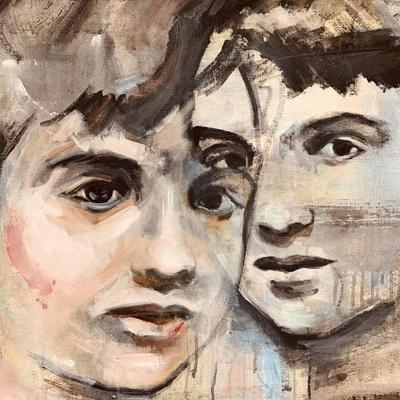 Large portrait of two boys size 1.6 meters by 1meter.