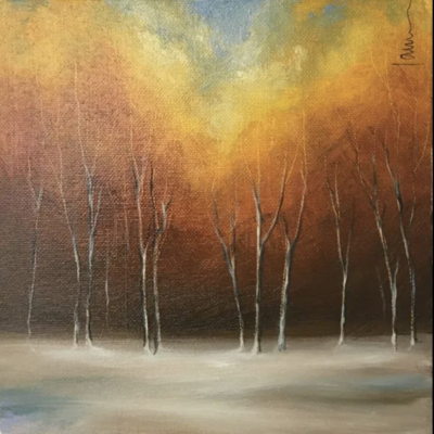 Early Snows. Oil on Box Canvas