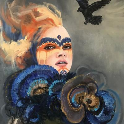 """Elena"", oil on box canvas 55.9 x 45.7 x 4cm (22.0 x 18.0 x 1.6 inch)"