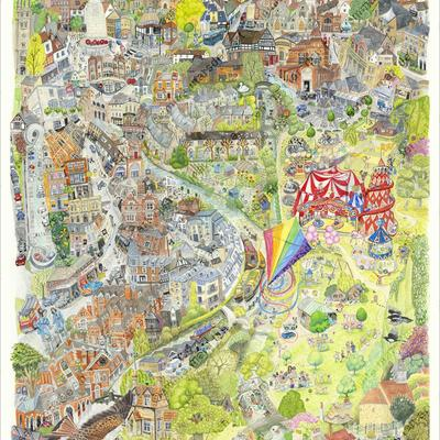 Colourful Hertford birds eye view illustration. A2 prints available from emmamarsdenart on Etsy. £52 (£10 to local charity)