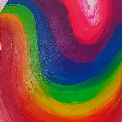Somewhere Under the Rainbow (2019). Acrylic on canvas. 60x90cm