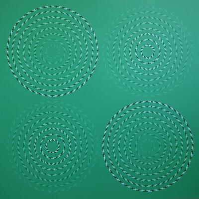 "Ever Decreasing Circles. Acrylic on hardboard 36"" x 36"""