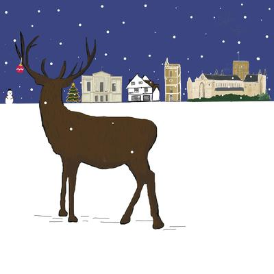 Herts Stag & St Albans Skyline, part of a pack of 5 St Albans Xmas cards available via my website.