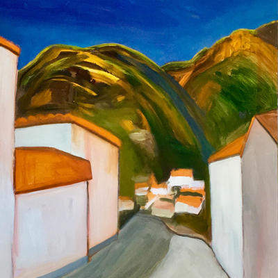 Mountain village in Gran Canaria. Acylics and oil on 90 x 90cm deep-edge canvas.