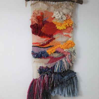 """""""Four seasons in one day"""". Woven wall hanging with embellishment. 2020."""