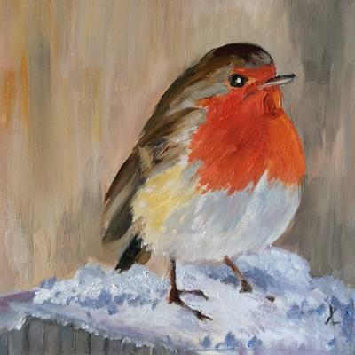 Frosty Robin shows one of our favourite winter birds bringing us all seasonal joy. Cards available.