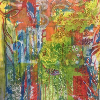 Window series large sheet using liquid acrylic paints