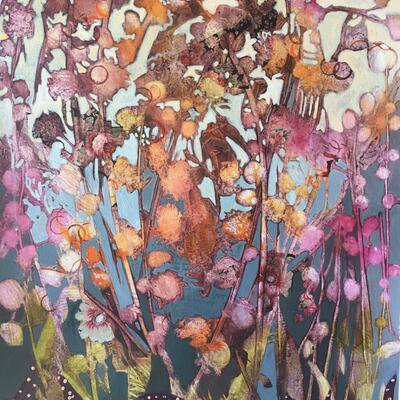 'Wild' Acrylic and collage on wood panel 40cm x 50cm