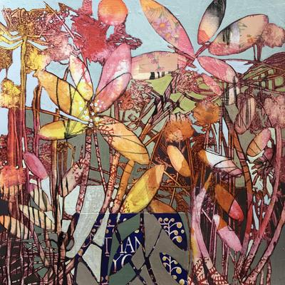 'Botanical pink and brown' Acrylic ink and collage 40cm x 40cm