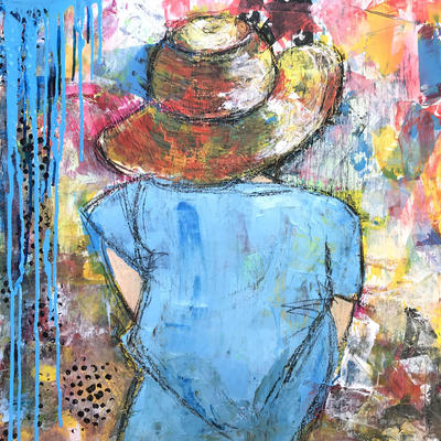 """Acrylic Mixed Media on hardboard Approx 24"""" x  24"""" Framed. An image taken of my daughter on holiday in Lake Como."""