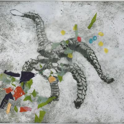 'Fossil Midden V'' I: intaglio print embedded with waste plastic