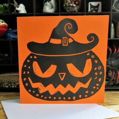 Black Witchy Halloween Pumpkin Linocut Print Greeting Card