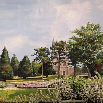 A view in Gadebridge Park - Acrylic on stretched canvas - painted from a personal snap