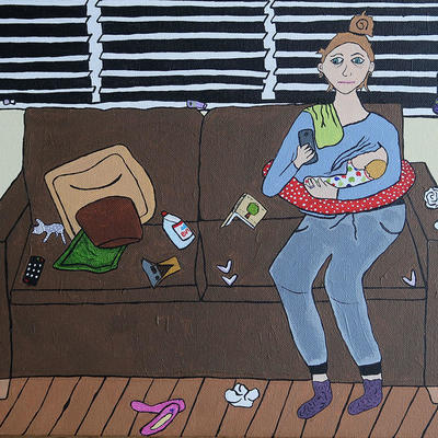 Acrylic painting of a tired mother breastfeeding her baby, surrounded by postpartum mess