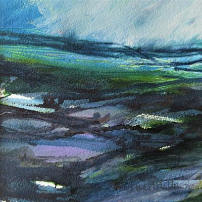 Green Moorland Mixed media painting on paper. Mount size 12 x 12 ins. £150