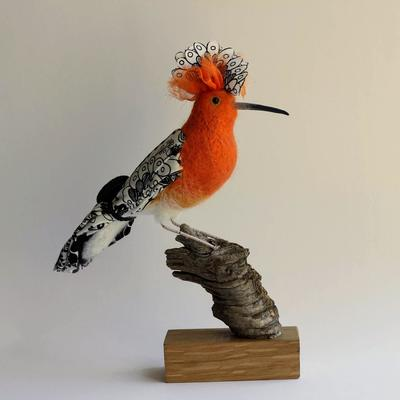 Hoopoe - needlefelted sculpture embellished with fabric and mounted on a wood base
