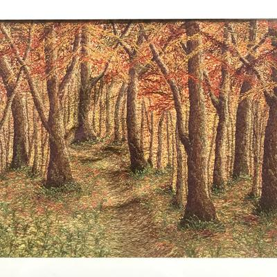 Autumn Woods - free machine stitching on painted textile