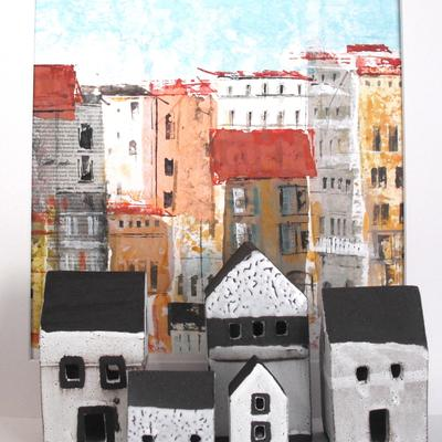 Florence Mixed Media Painting & Ceramic Houses