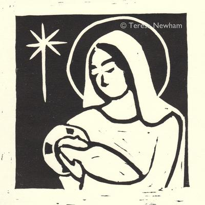 Mother & Child - hand printed linocut