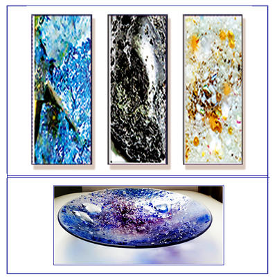 Judith Menges  Glass Wall Art Panels Inspired by Periodic Table,  Large Glass Bowls - Gemstones, Birthstones & Anniversary Stones.  made as Glass Wall Art Triptychs Large Bowls Wall hung