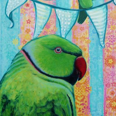 Party parakeet!  Prints and cards available.