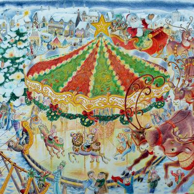 Christmas merry-go-round illustration for a puzzle.