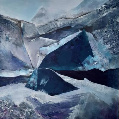 Melting - on the edge     Acrylic mixed media  painting    Petra Geggie