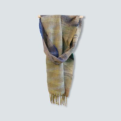 Handwoven scarf in slubby textured cotton