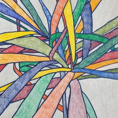 'Rainbow Leaves'  Marker pen and coloured pencil on paper