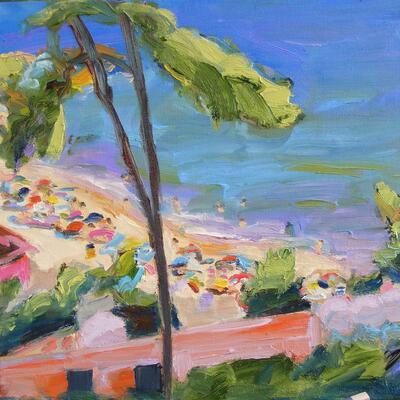 S'Agaro Beach oil on linen, 40 x 40 cm.  Vivid colours of the Meditterranean.