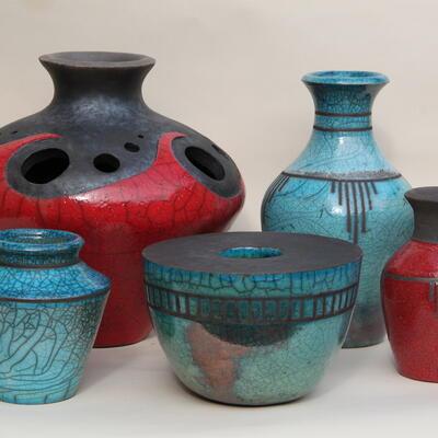 Group of raku pieces