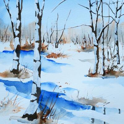 Snowscene, Watercolour