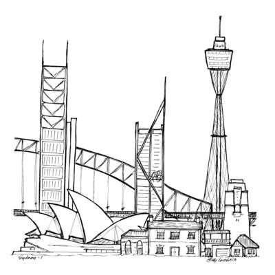Drawing the World: Sydney townscape - tallest, old, new and more. Original plus cards &limited edition fine art prints