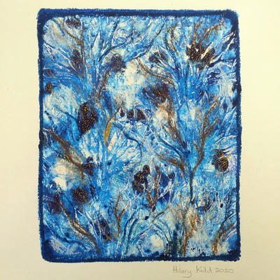 'Winter Blues' Monoprint and pastel on paper