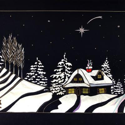 Winter Chase - find the rabbit being chased across this snowy landscape. Collage of hand cut card and tissue paper.
