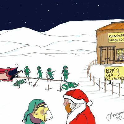 Elf Distancing. Print. Original in Watercolour.