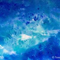 Blue ~ experimental watercolour salt painting