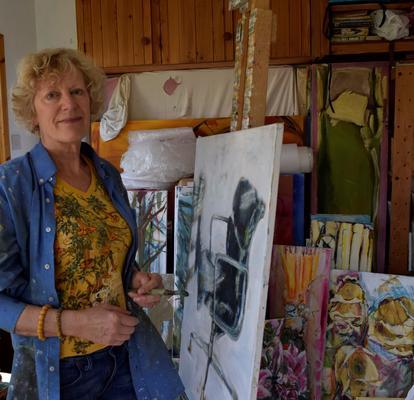 Kathy and her studio