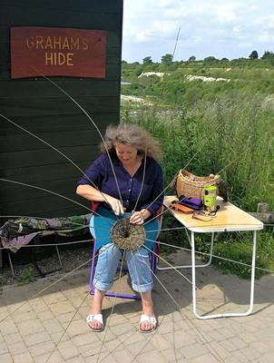 Weaving my signature hanging basket at College Lake Nature Reserve nr. Tring