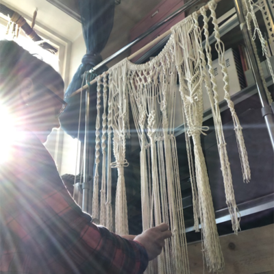 Cathie making the Angel Macrame Wall Hanging
