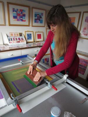 Christine Calow, Silkscreen printing in my studio