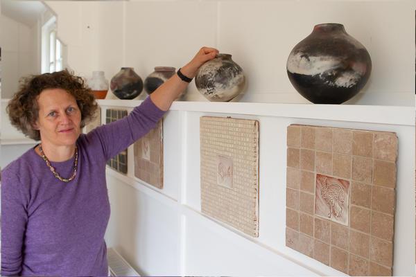 Helen Baron, potter, pit-fired pots