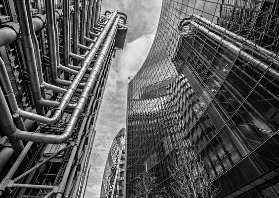 Photograph taken in the Square Mile of London showing abstract of Glass & Steel.