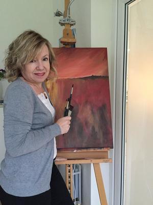 Heather in the studio
