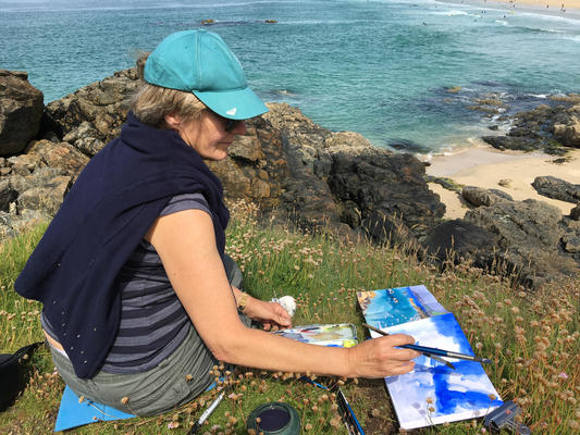 Painting on the cliffs near St Ives