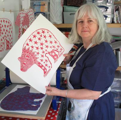 I am Ann Marie Whitton at work in my print studio