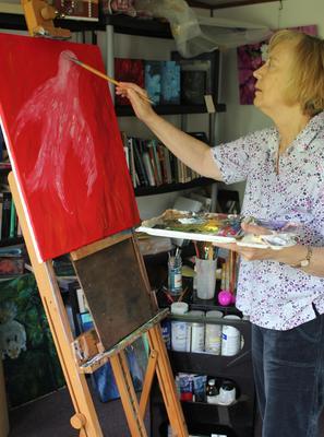 """Painting """"Firebird"""" in my garden studio"""