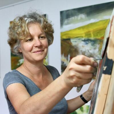 Karin Friedli at work in her studio
